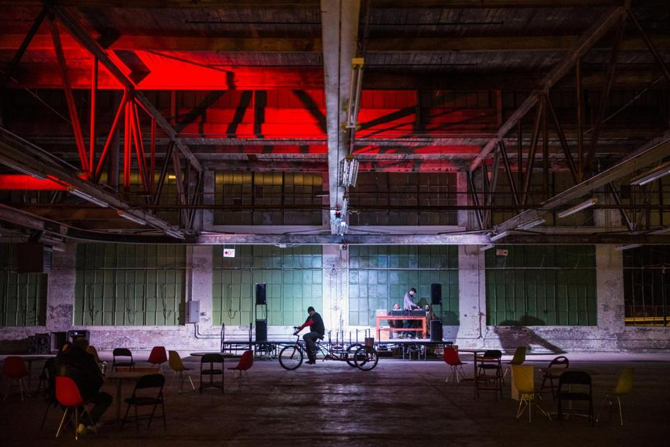 A DJ plays music in the pavilion at the Norwood Space Center.